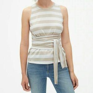 Gap NWT Stripe Wrap Waist Top